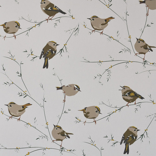 Birds and foliage wallpaper in grey and beige hues.