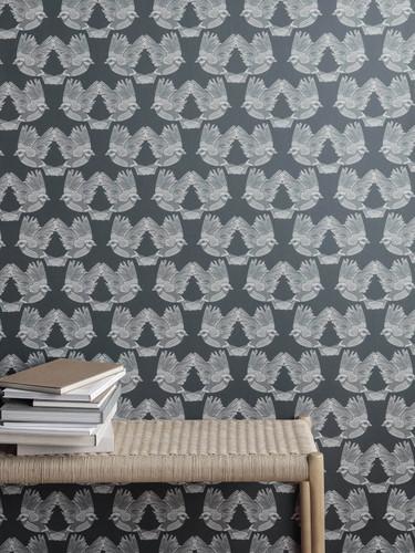 Birds wallpaper in dark green and white.