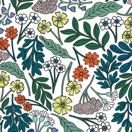 Multi-color flower wallpaper swatch.