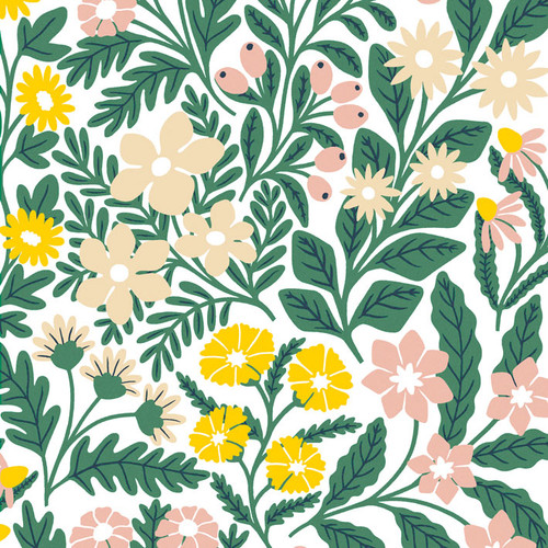 Peachy pink and yellow flower wallpaper swatch