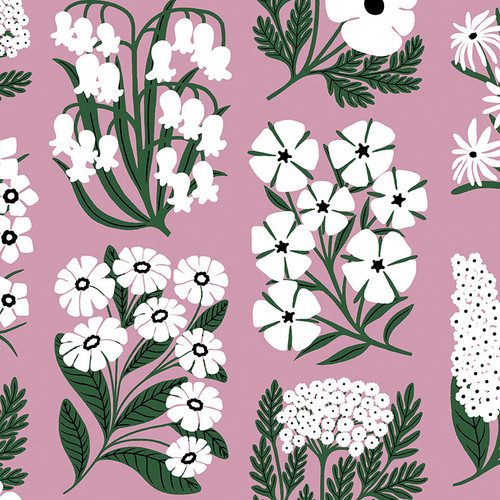 Pink wallpaper with white flo