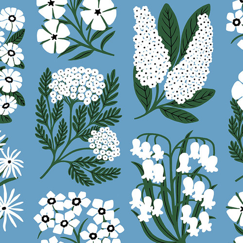 White flowers on a blue wallpaper swatch.