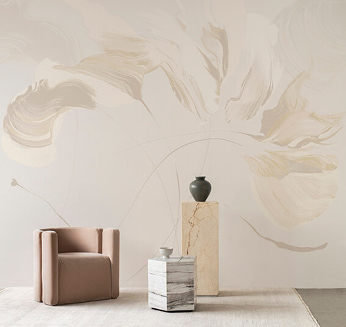 Abstract large-scale mural in cream tones.