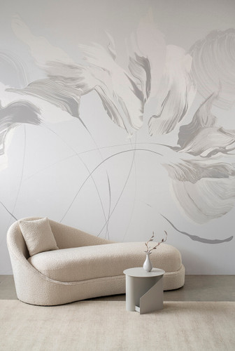 Abstract wallpaper mural in greys.