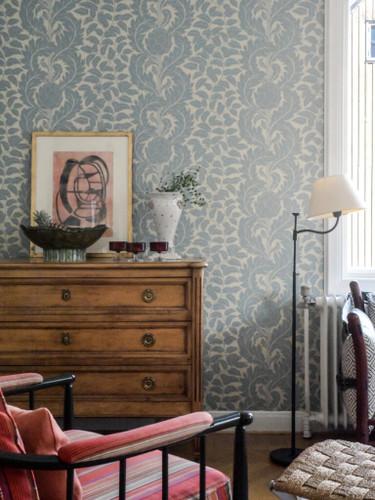 Subtle stripe created with artichoke motif wallpaper.