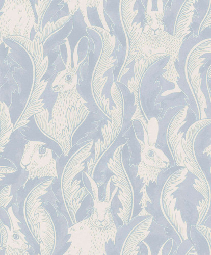 Hares hiding in the leaves on light blue wallpaper.