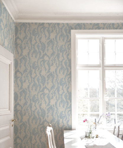 Hares in Hiding wallpapered Kitchen in light blue colorway.
