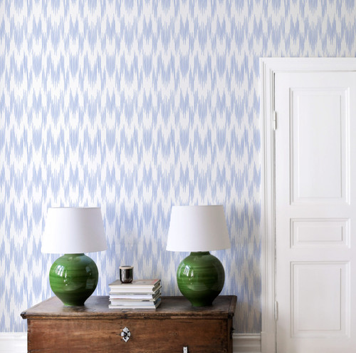 Ikat wallpaper in blue and white.