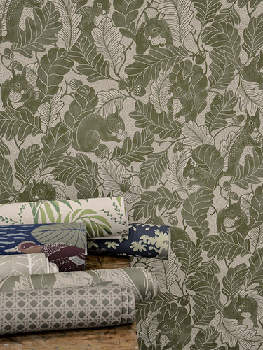 Squirrel and Oak Wallpaper in green.