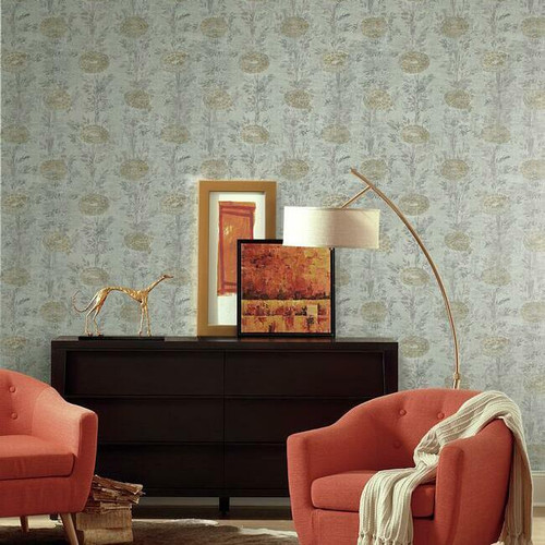 Vintage look wallpaper with large marigolds.