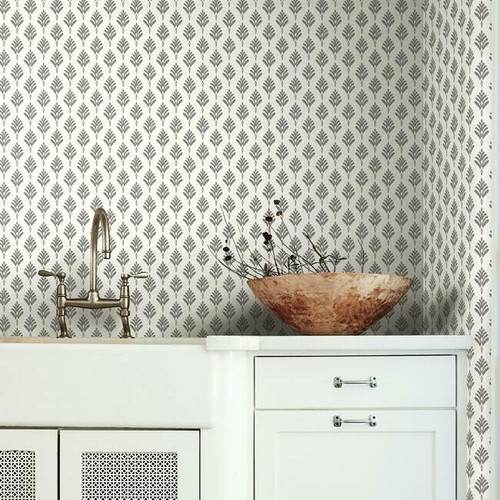 French scallop wallpaper in a kitchen.