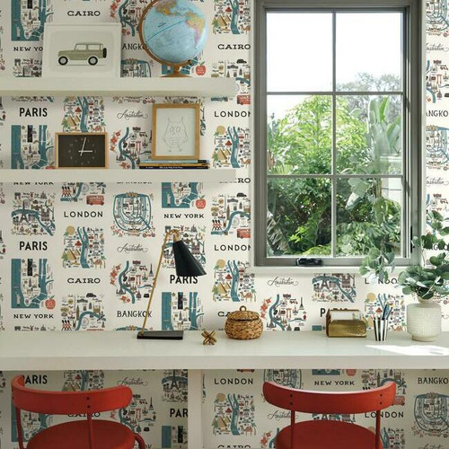 Colorful city map wallpaper in an office.