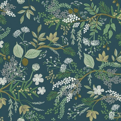 Evergreen winter foliage peel + stick wallpaper.