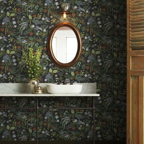 Botanical wallpaper bathroom.