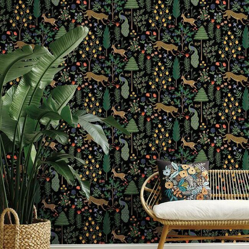 Menagerie peel + stick wallpaper in black.