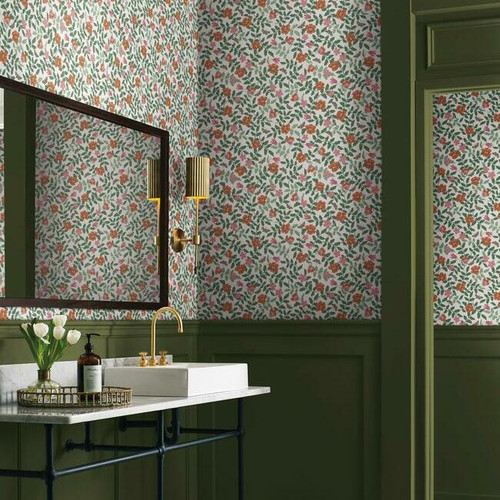 Bathroom with Primrose peel + stick wallpaper.