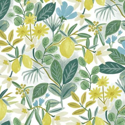 Blue and green botanical peel + stick wallpaper.