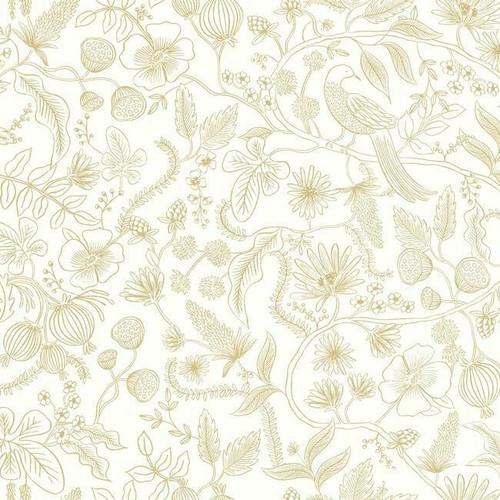 Gold and white botanical peel + stick wallpaper.