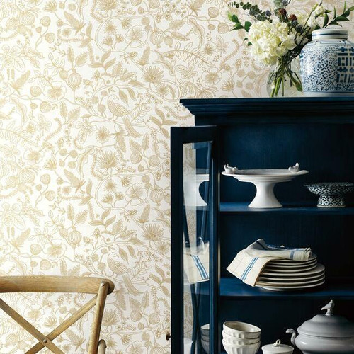 Kitchen featuring gold and white floral wallpaper with birds.