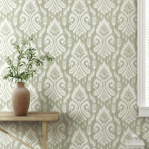 Neutral ikat peel + stick wallpaper in entry way.