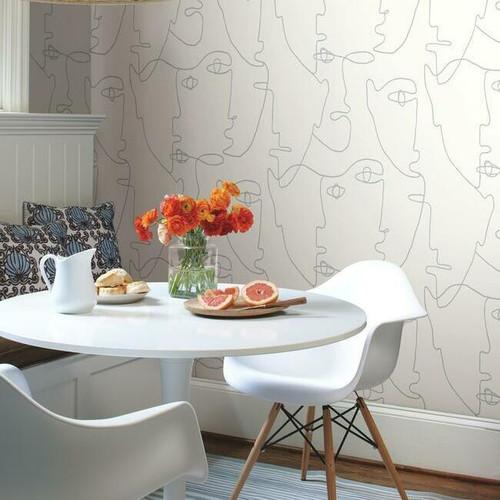 Portrait peel + stick wallpaper in a breakfast room.