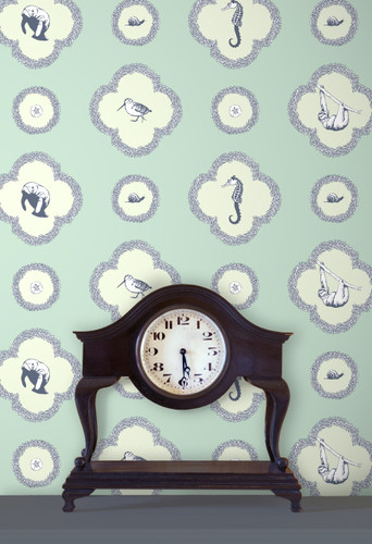 Mint green wallpaper featuring slow animals.