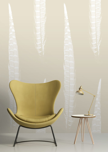 Large scale neutral feather wallpaper.