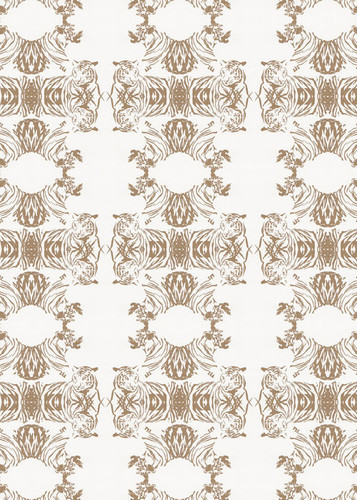 A graphic pattern that presents tiger heads in an abstracted wallpaper.