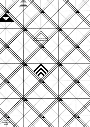Geometric black and white wallpaper swatch.