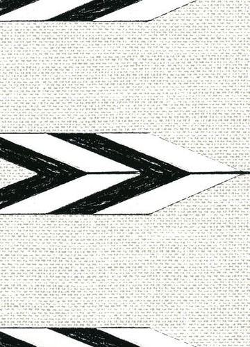 Zuni swatch of arrow wallpaper in black and white.