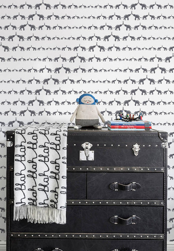 Elephant wallpaper in charcoal and white.
