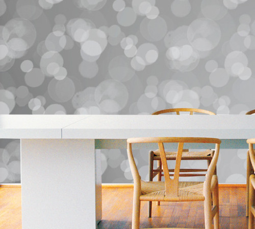 Dinning room with city lights wallpaper.