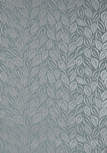 Silver leaves on graphite colored wallpaper.