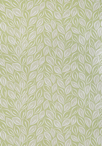 Small white leaves on green wallpaper.