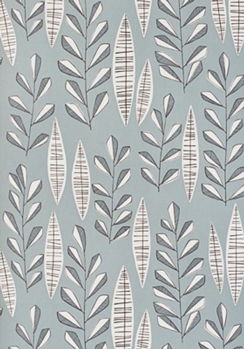 Neutral blue grey leaf wallpaper.