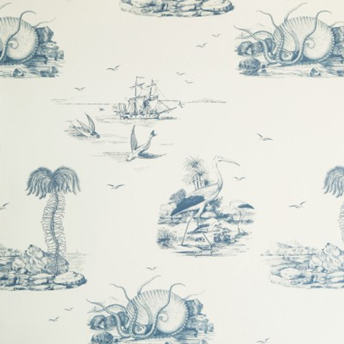 Cream and indigo sea toile.