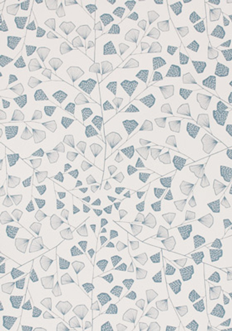 Blue and white fern patterned wallpaper.