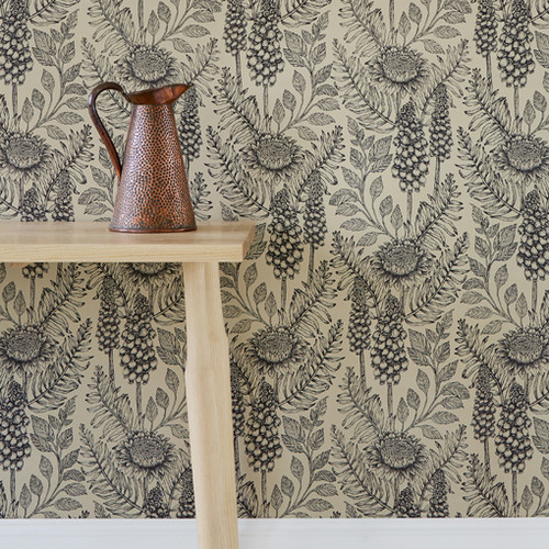 Detailed stems of Muscari grow among  meandering leaves on a black and ecru colored wallpaper.