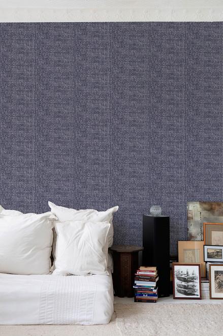 Silver sisal pattern on blue wallpaper.
