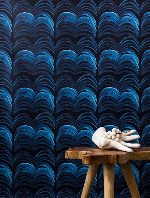 Vibrant patterned wallpaper.