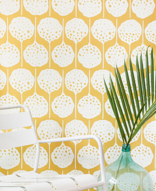 Bright fun floral wallpaper.
