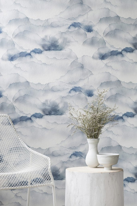 Watercolor clouds in sky.