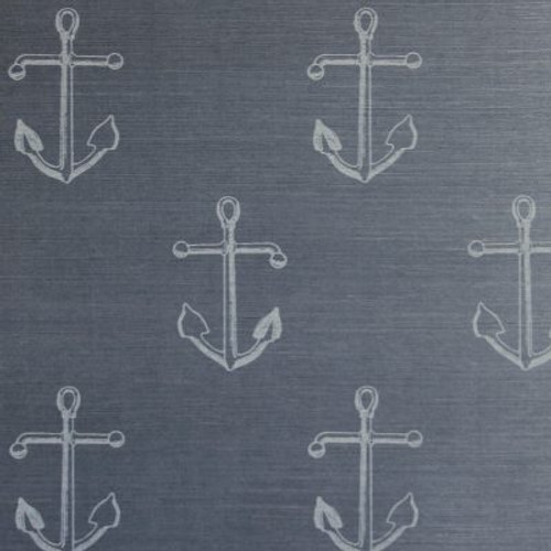 Dark grasscloth with a classic anchor pattern.