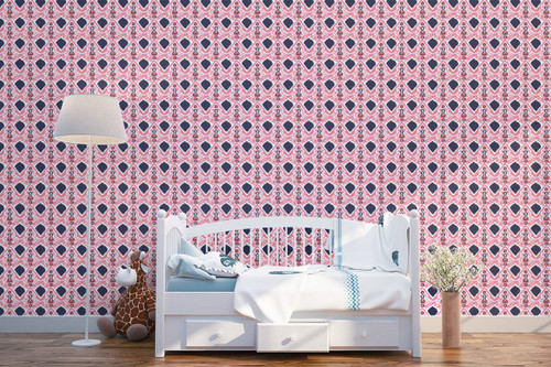 Indian-inspired wallpaper in pink and Navy blue
