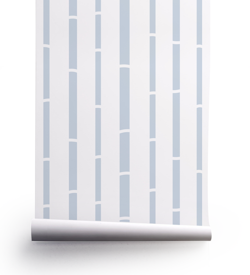Bamboo wallpaper roll in French blue.
