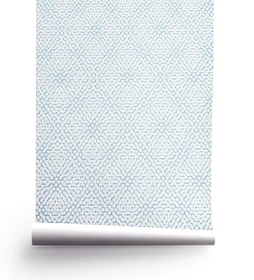Blue hydrangea pattern wallpaper roll.