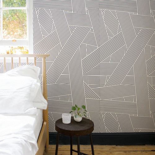 Stripe blocked wallpaper in black and white.