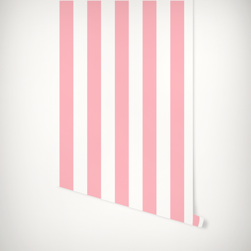 Pink and white striped wallpaper roll.