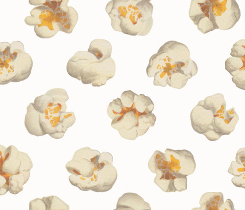 Large scale popcorn on white wallpaper.