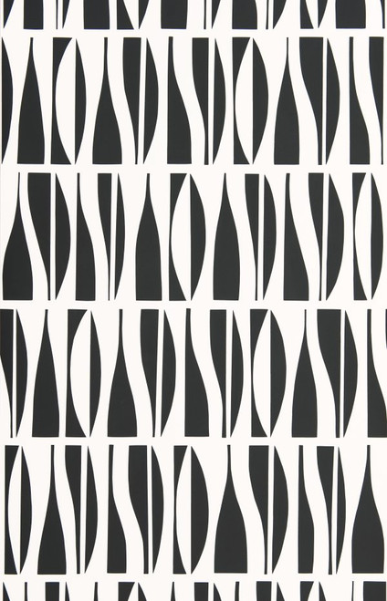 Black curving shapes on white wallpaper.